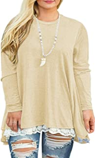 Womens Plus Size Tunic Tops Casual Lace Long Sleeve...
