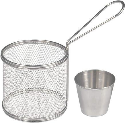 Preisvergleich für Fry Baskets Mini Runde Edelstahl Pommes Frites Friteuse Korb Halter Kochwerkzeug mit Sauce Tasse für Tisch servieren Essen Präsentation Küche verwenden(2PCS)