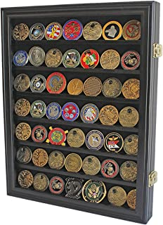 Lockable Military Challenge Coin Casino Chip Display Case Cabinet Rack, Real Glass Door, COIN26-BLA