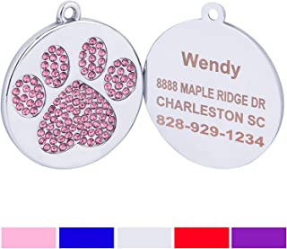 Taglory Stainless Steel Pet ID Tags, Laser Engraved Custom Dog Tags, Crystal Rhinestone Studded Paw Print, Customized Tags in Red, Blue, Pink, Violet, Silver