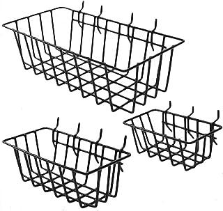 BTOPER Lot de 3 paniers de rangement en fil d'acier robuste avec poignées pour vêtements, congélateur, garde-manger, burea...