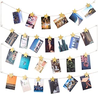Dahey Hanging Photo Display Picture Hanger Photo String with 25 Wood Stars Clips Wall Art Decoration for Home Office Nursery Room Dorm