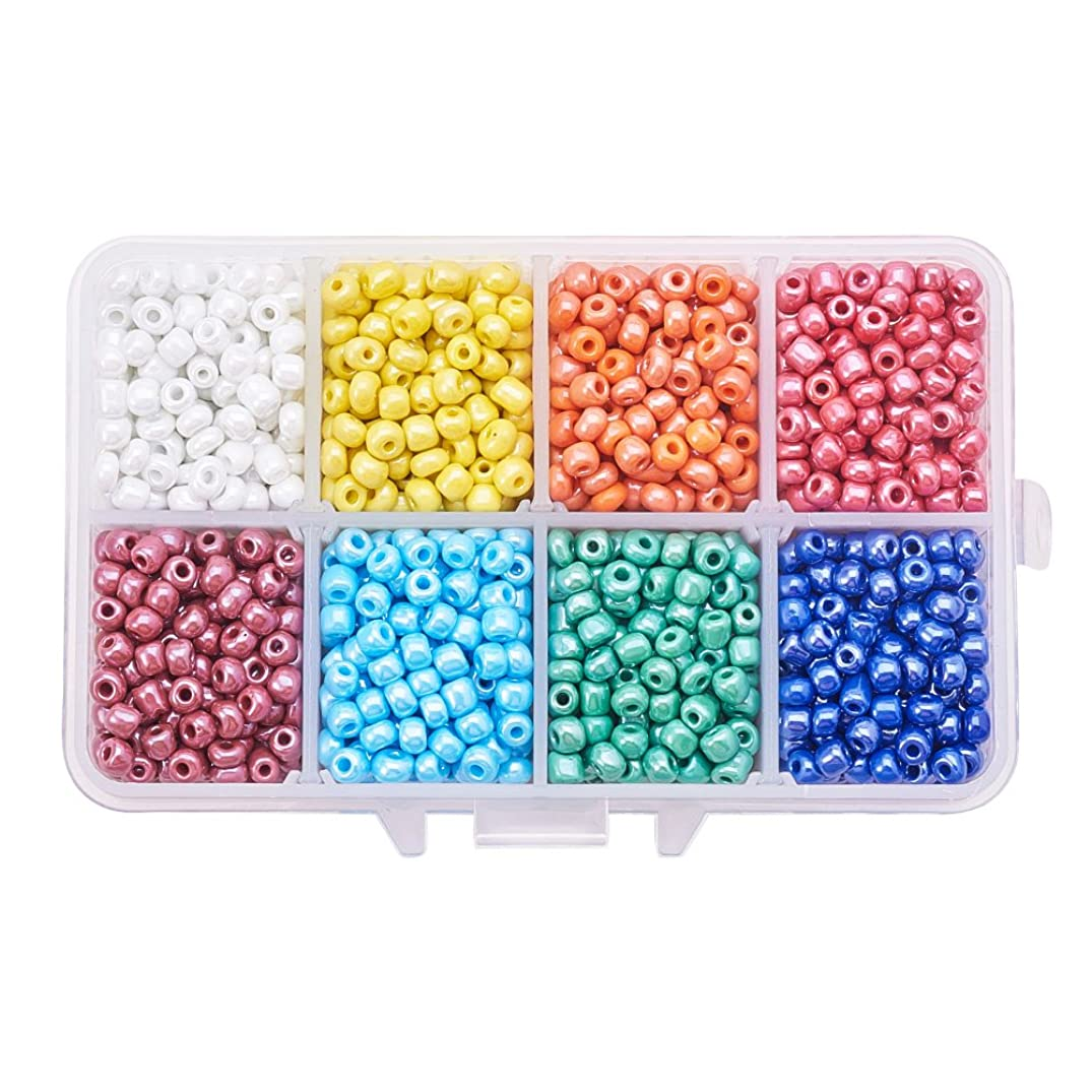 Pandahall 1 Box (About 1400pcs) 6/0 Mixed Color Glass Seed Beads Opaque Colours Lustered Loose Spacer Beads, 4mm