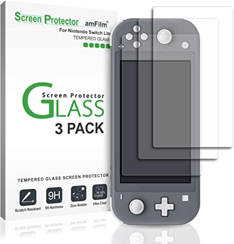 amFilm Glass Screen Protector for Nintendo Switch Lite 2019 (3-Pack)