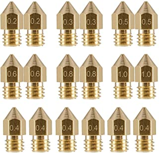 LEOWAY 18 Pcs MK8 Extruder Nozzle M6 3D Printer Extruder Brass Nozzle Print Head with 7 Different Sizes (0.2mm, 0.3mm, 0.4...