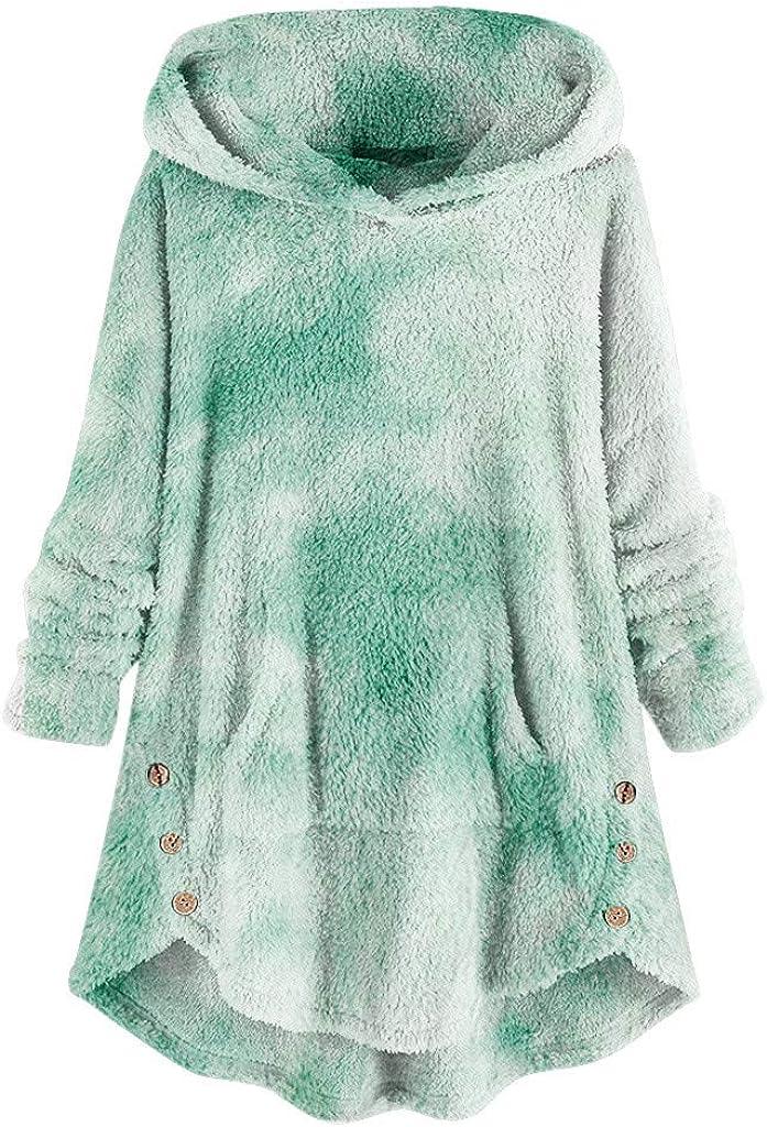 Women Tie Dye Sweatshirt Casual Fleece Hooded Pullover Tops Plus Size Asymmetrical Button Hem Hoodies Coat