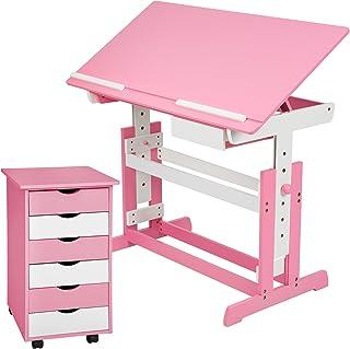 TecTake Bureau enfant hauteur réglable inclinable 109x55cm avec commode caisson à roulettes - diverses couleurs au choix -...