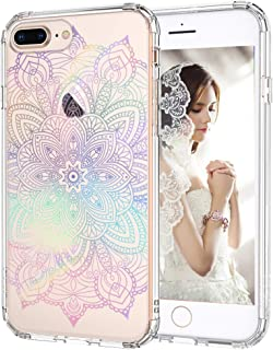 iPhone 8 Plus Case, iPhone 7 Plus Clear Case, MOSNOVO Gradient Rainbow Henna Mandala Printed Clear Design Plastic Case with TPU Bumper Case Cover for Apple iPhone 7 Plus/iPhone 8 Plus (5.5 Inch)