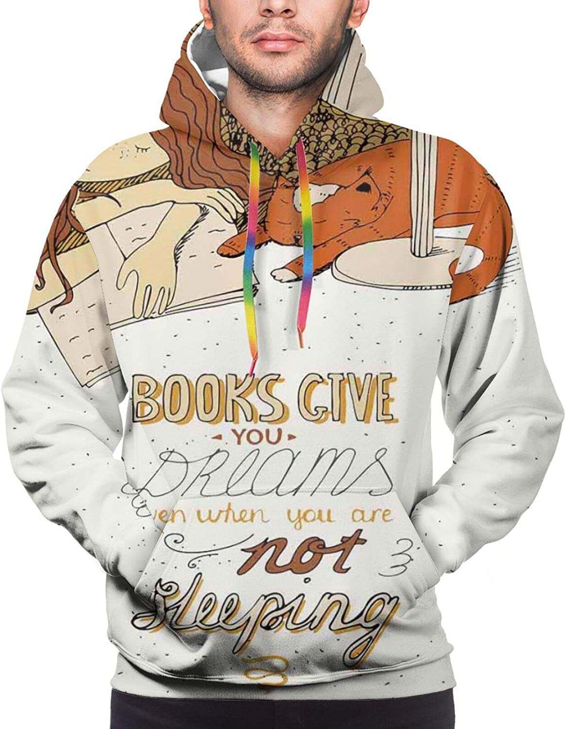 Men's Hoodies Sweatshirts,Books are Bricks in The Wall Print Black and White Illustration Girl Caressing Cat