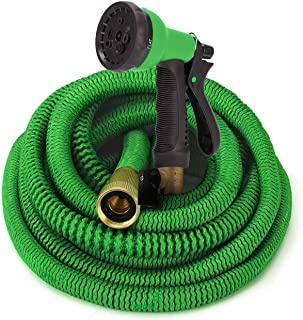 GrowGreen Garden Hose, Flexible Water Hose with High Pressure Hose Spray Nozzle, Expandable Garden Hose with All Brass Con...
