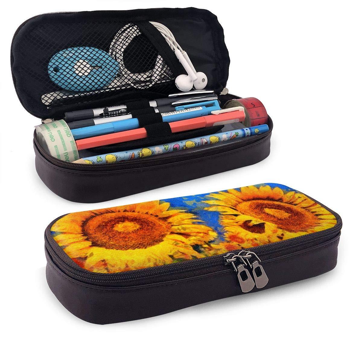 Sunflowers - Estuche para lápices y pinceles de pintura al óleo, multifuncional, con cremallera, bolsa de almacenamiento para brochas de maquillaje, color negro talla única: Amazon.es: Oficina y papelería