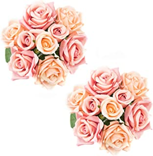 Foraineam 2-Pack Rose Fake Flowers 9 Heads Bridal Wedding Bouquets Silk Artificial Roses Flowers