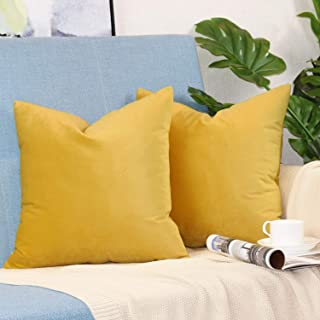 sykting Decorative Pillow Covers Solid Soft Cozy Velvet Throw Pillow Covers for Home New Year Christmas Decorations Pack of 2 18x18 inch Yellow