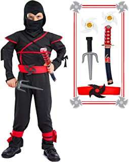 Kids Ninja Costume Halloween Costumes for Boys Ninja Toys with Ninja Foam Accessories 3-10 Year Old Boys Dress up Best Gifts