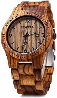 W086B Mens Wooden Watch Analog Quartz Handmade Lightweight Wood Wrist Watch