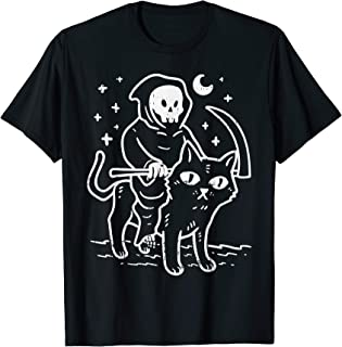 Grim Reaper Riding Cat Moon Funny Death Halloween Costume T-Shirt