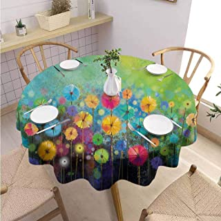 Multi-Pattern Round Tablecloth Flower Will not Fade Dandelions Featured in Garden with Brushstrokes Watercolored Abstract Landscape Art,Round – 70 inch Multicolor