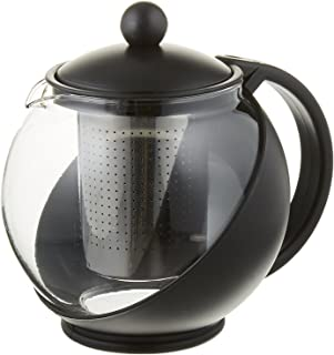 Pride Of India Tempered Glass 3-Cup Tea Pot w/Removable Steel Infuser, 25 Fluid Ounces