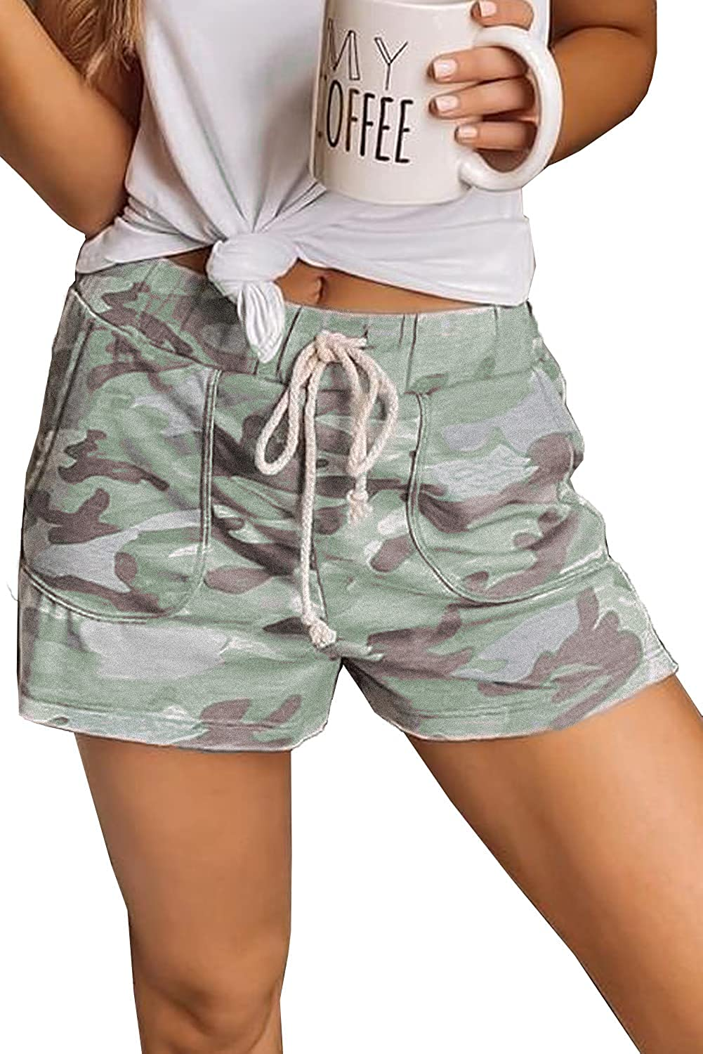 Denim Shorts for Women Frayed Distressed Jean Short Cute Mid Rise Ripped Hot Shorts Comfy Stretchy