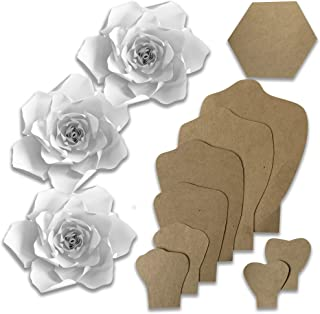 Paper Flower Template Kit - Make Your Own Paper Flowers - Paper Flowers Decorations for Wall - Make Unlimited Flowers - DIY Do It Yourself - Make All Sizes (Gardenia)