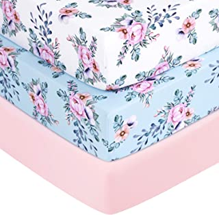 """TILLYOU Jersey Knit Floral Crib Sheets, 170 GSM Thick Soft Breathable Baby Bed Sheets for Girls, 28"""" x 52"""" x 8`` Stretchy Toddler Mattress Sheets, 3 Pack Secret Garden"""