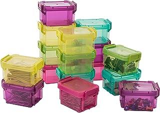 Iris Ohyama, Lot de 16 petites boîtes de rangement empilables avec couvercles à clip - Little Large Box - LLB-6D, plastiqu...