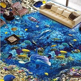 Fondos de pantalla 3D Pvc Blue Sea World Fish Flooring Photo Sticker Dormitorio Home Restaurant Aquarium Floor Wallpaper Mural Latest Wallpaper 250X175Cm