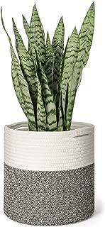 Mkono Cotton Rope Plant Basket Modern Floor Indoor Planter Up to 10 Inch Flower Pot Woven Storage Organizer with Handles Home Decor, 11