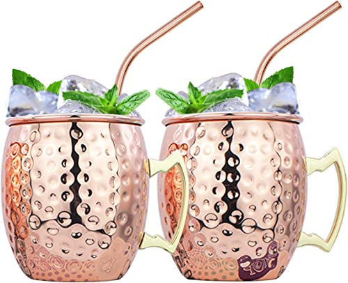 2021 16 oz Moscow Mule Mugs Set of 2 HandcraftedCopper Mugs online sale Food-safe Stainless Steel Lining Cups large-capacity Hammered Mugs with 2 Cocktail Straws for 2021 Iced Drinks, Beer Cocktail for Home and Bar outlet sale