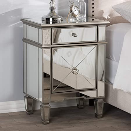 Baxton Studio Claudia Hollywood Regency Glamour Style Mirrored Nightstand Glam/Silver Mirrored/MDF