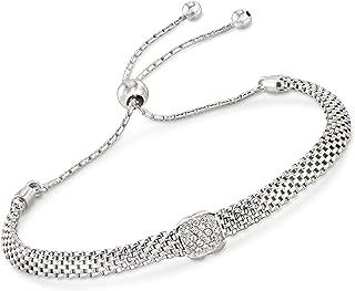 Ross-Simons Italian Sterling Silver Mesh Bolo Bracelet With CZ Station