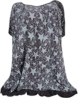 DADKA Womens Shirts Plus Size O-Neck Print Patchwork Hollow Out Short Sleeve Blouse Tunic Shirt Tops