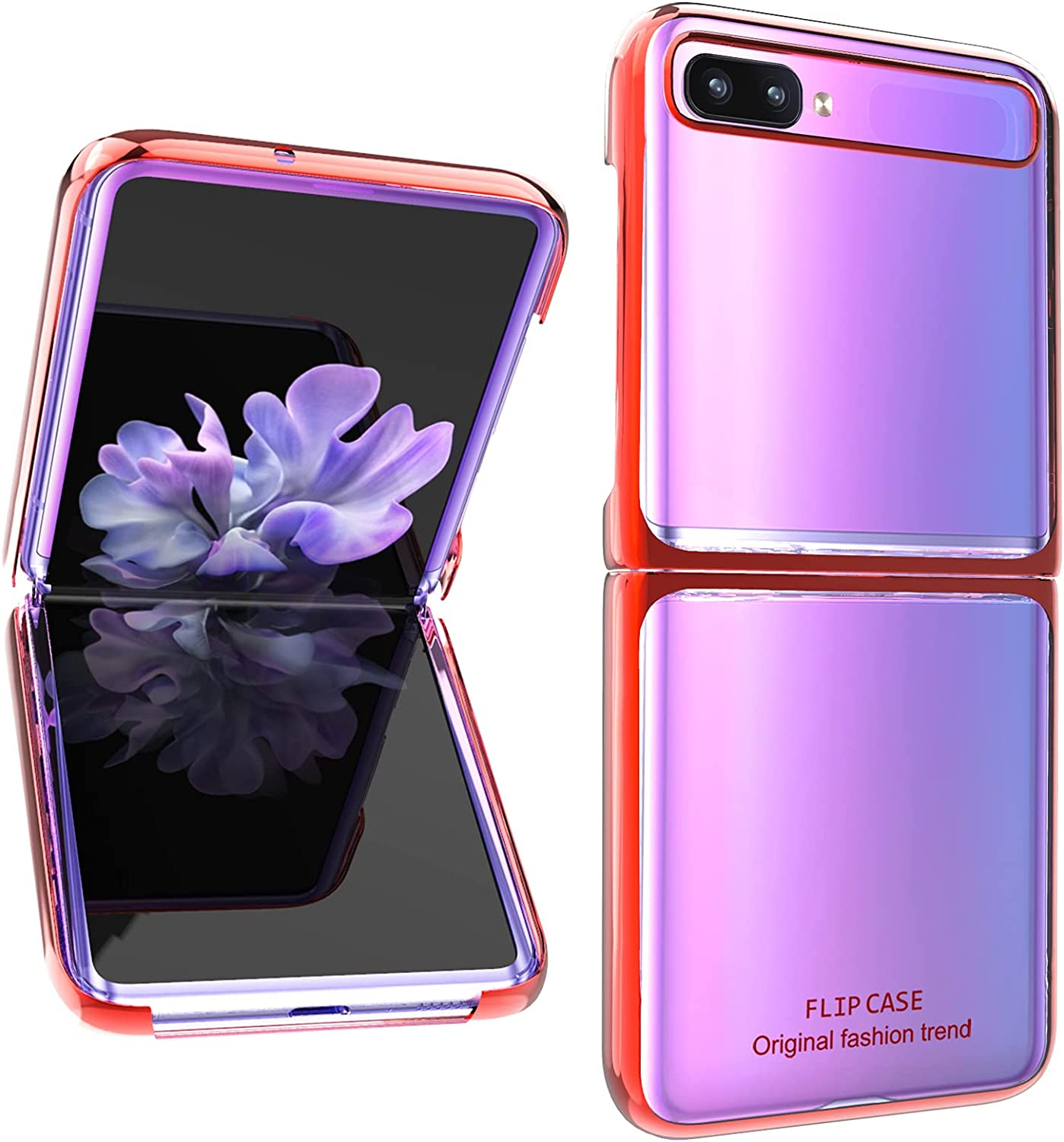 AIGOMARA Clear Case for Samsung Galaxy Z Flip 5G Hard PC Crystal Cover Anti-Scratch Shockproof Protection Thin Slim Phone Cover for Galaxy Z Flip 5G, Clear-Red
