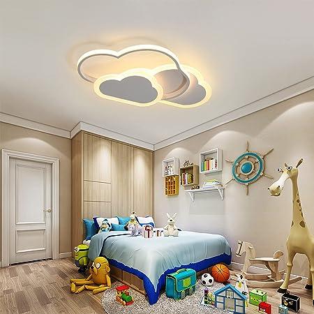 SENQIU Plafonnier Nuage,32w Lampe de Plafond LED Créatif avec Dimmable Télécommande 3000-6500k 2800lm L42*H6cm, éclairage de Dessin Animé pour Salon Chambre d'Enfants Chambre Garçon et Fille
