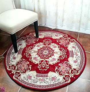 Hihome Round Area Rugs Traditional Area Rug 4-Feet Non-Slip Oriental Red Floral Classic Pattern Machine Washable Retro Antique for Living Room Bedroom Dining Room (Round 4 Feet Red)