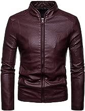 jin&Co Leather Jacket Men Solid Color Zip Slim Premium Moto Biker Jacket Casual Outercoat Bomber Jacket