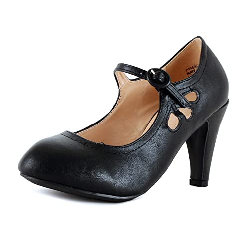 89c24852a65 Womens Vintage Mary Jane Pumps Low Kitten Heels Retro Round Toe Shoe with  Ankle Strap
