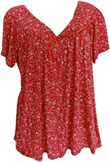 Plus Size T Shirt for Women Short Sleeve Print Tops Ladies V-Neck Casual Blouse Shirt Tunic