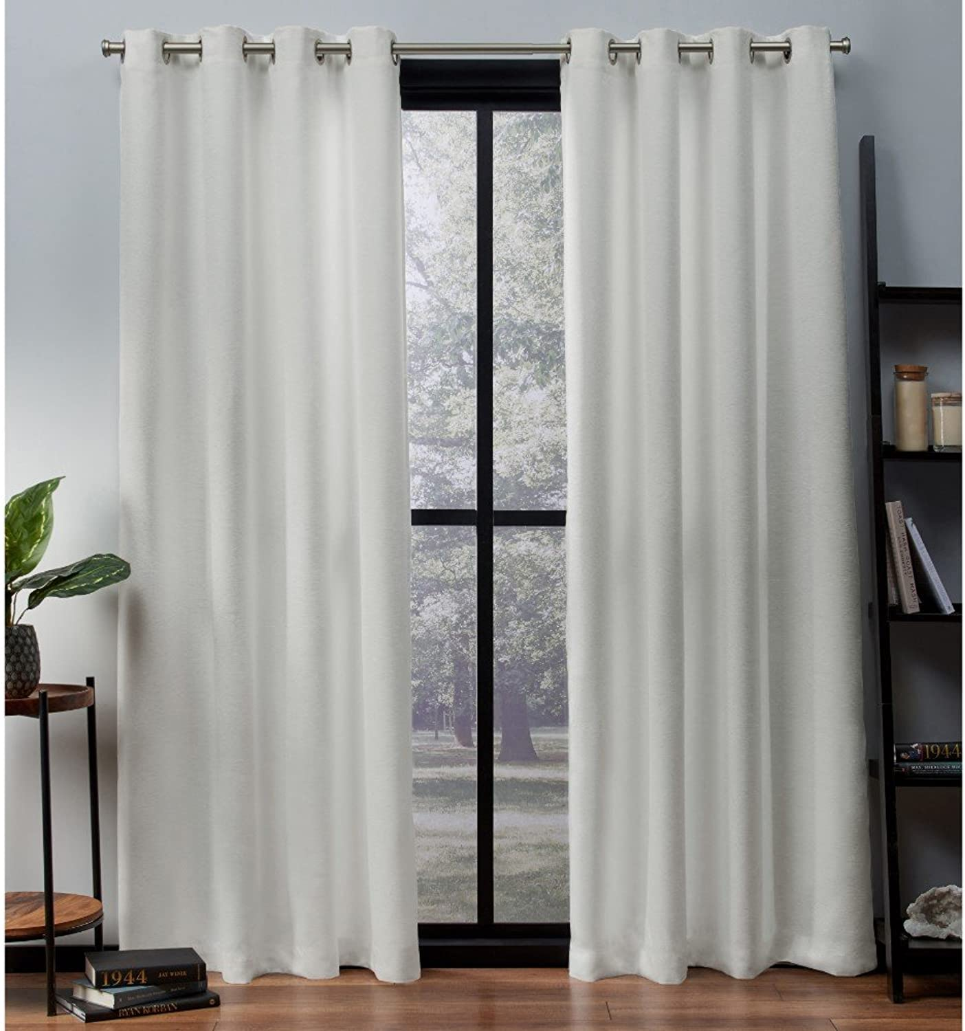 Exclusive Home Curtains Oxford Textured Sateen Thermal Window Curtain Panel Pair with Grommet Top, 52x108, Vanilla, 2 Piece