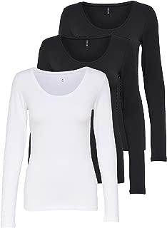 ONLY 3er Pack Damen Langarmshirt Schwarz und Weiß Langarm Basic Longsleeve Sommer Aus 95% Baumwolle XS S M L XL Gratis Wäschenetz von B46
