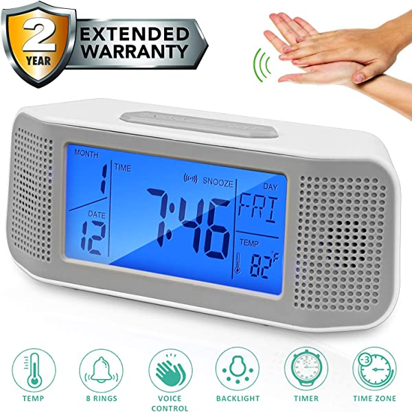 Alarm Clock For Bedroom Voice Operated Backlight LCD Large Digital Clock Battery Operated Travel Clock For Heavy Sleeper Have 8 Sound And Timer Function Display Time Temp Time Zone Grey 2019