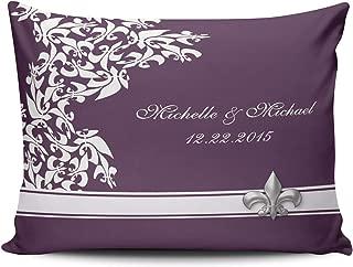 MUKPU Home Custom Pillowcase Purple White Fleur De Lis Keepsake Simple and Chic Throw Pillowcase Cushion Cover One Sided Printed Design Boudoir 12x20 Inches