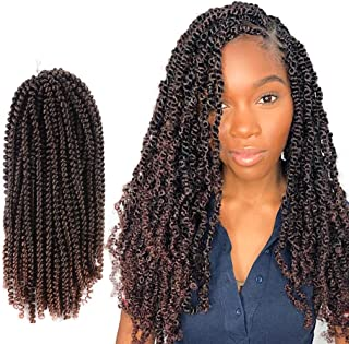 Toyotress Long Spring Twist Hair 14 Inch Ombre Brown 4 Pcs Fluffy Twist Crochet Braids Synthetic Braiding Hair Extensions (14 inch, T30)