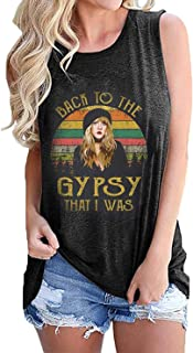 Womens Vintage Tank Top Back to The Gypsy That I was Funny Retro Tank Stevie Nicks Graphic Hippie Music T Shirt