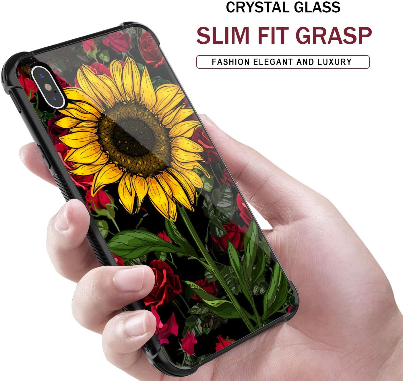 iPhone X/XS Case,Sunflower Rose Pattern Tempered Glass iPhone X/XS Cases for Girls [Anti-Scratch] [Anti Fall] Elegant and Luxury Design Cover Case for iPhone X/XS(5.8inch)