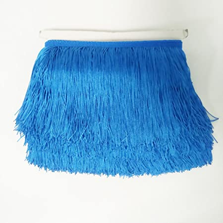 Dark Brown Fringe Trim Lace Polyester Fibre Tassel for Clothes Accessories and Latin Wedding Dress 10 Yard 14cm Long
