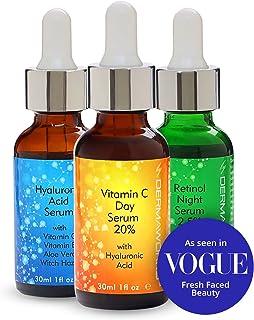 Dermaworks Serumset + Retinol Serum + vitamine c + hyaluronzuur, anti-aging, anti-rimpel, behandelt ouderdomsvlekken, stim...