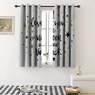 I Love You Blackout Draperies for Bedroom Hand Drawn I Love You to The Moon and Back Quote Stars Valentines Celebration Curtains Kitchen Valance W72 x L63 Inch Cocoa Black