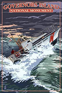 New York - Governor's Island National Monument - Coast Guard Boat (9x12 Art Print, Wall Decor Travel Poster)