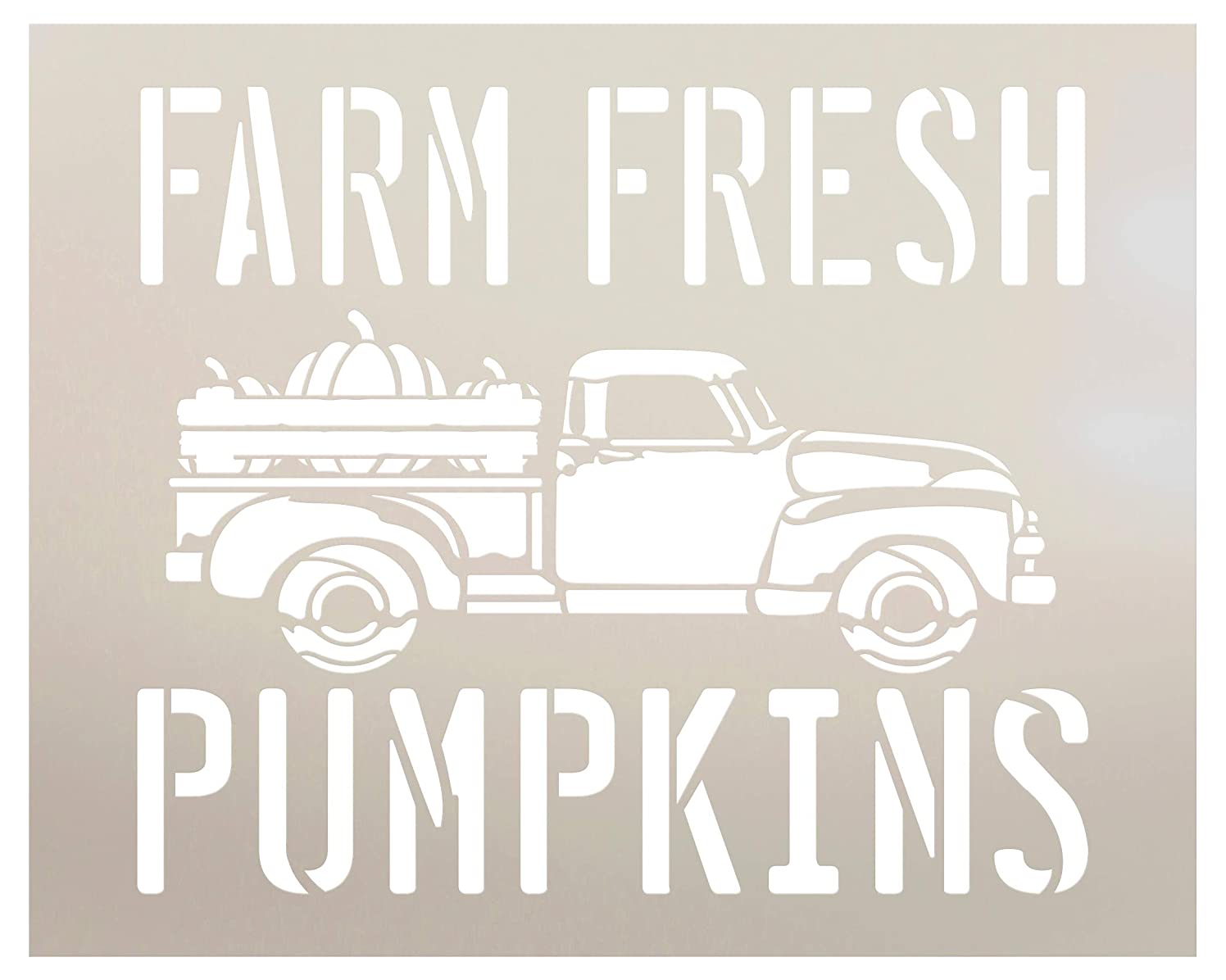 Farm Fresh Pumpkins in Truck Stencil by StudioR12 | Wood Signs | Word Art Reusable | Fall | Painting Chalk Mixed Media Multi-Media | Use for Journaling, DIY Home - Choose Size (10